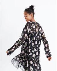 Madewell Black Ulla Johnsontm Silk Dahlia Floral Mini Dress