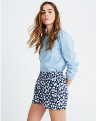 Madewell Blue Drapey Pull-on Shorts In French Floral