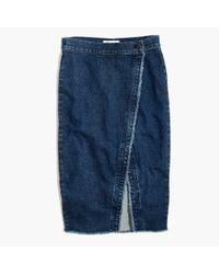 Madewell Blue Raw-hem Denim Midi Skirt