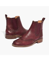 Madewell - Red The Ivan Brogue Chelsea Boot In Dark Cabernet - Lyst