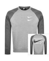 Nike Gray Crew Neck Swoosh Sweatshirt for men