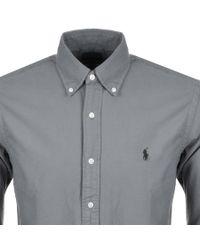 Ralph Lauren Gray Long Sleeved Slim Fit Shirt Grey for men