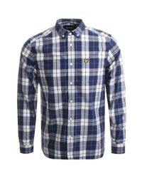 Lyle & Scott - Blue Lyle And Scott Check Poplin Shirt Navy for Men - Lyst