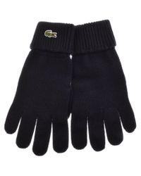 249d7edc0908d2 Lyst - Lacoste Merino Wool Ribbed Gloves Navy in Blue for Men