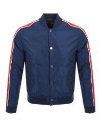 Michael Kors Blue Stripe Baseball Jacket for men