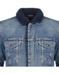 Levi's Denim Sherpa Trucker Jacket Blue for men