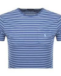Ralph Lauren Blue Stripe T Shirt Navy for men