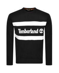 Timberland Black Crew Neck Logo Sweatshirt for men