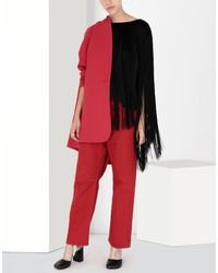 MM6 by Maison Martin Margiela Black Jersey Top With Elongated Fringes