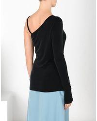 MM6 by Maison Martin Margiela Black Asymmetric Jersey Top