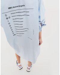 MM6 by Maison Martin Margiela Blue Hemdkleid aus Popeline mit Logoprint