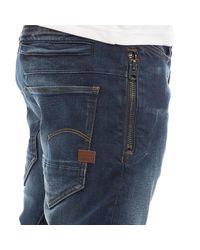 G-Star RAW Blue D-staq 3d Zip Slim Jeans Authentic Dark Aged for men