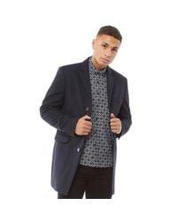 Limehaus Blue 3 Button Slim Fit Overcoat Navy for men