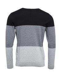 Firetrap - Colour Block Crew Knit Jet Black/greys for Men - Lyst