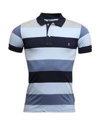French Connection Blue Wide Four Stripe Polo Grey/sky/navy for men