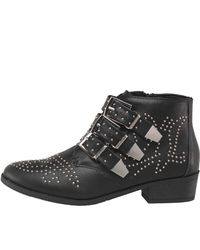741e00cf3ad Women's Pu Studded Triple Buckle Ankle Boots Black