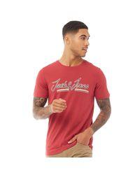 Tee-Shirt Franco Bordeaux Jack & Jones pour homme en coloris Red