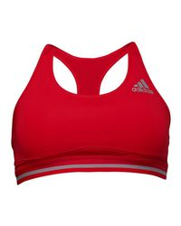 41cb7a7480a07 Adidas Techfit Climachill Sports Bra Top Ray Red mid Grey in Red - Lyst