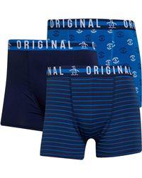 Original Penguin AOP Streifen Drei Pack Boxershorts Navy in Blue für Herren