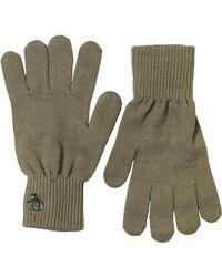 Original Penguin - Green Rib Gloves Burnt Olive for Men - Lyst