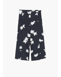 Mango - Blue Flowy Cropped Trousers - Lyst