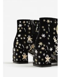 Mango Black Stars Embroidered Ankle Boots
