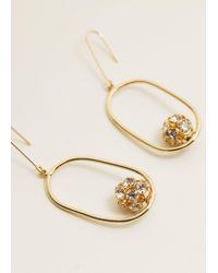 Mango - Metallic Crystal Hoop Earrings - Lyst