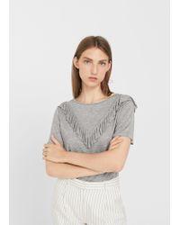 Mango - Gray Ruffled Detail T-shirt - Lyst