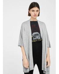 Mango   Gray Fine Knitted Jacket   Lyst