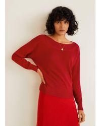 Mango Towel Fabric Sweater Red