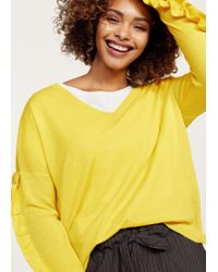 Violeta by Mango - Yellow Ruffled Sleeve Sweater - Lyst