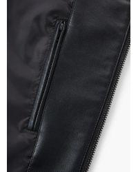 Mango Black Quilted Panels Biker Jacket for men