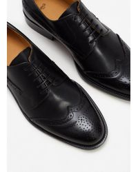 Mango - Black Leather Oxford Shoes for Men - Lyst