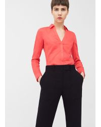 Mango | Red Ribbed Panel Shirt | Lyst