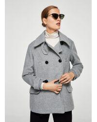 Mango Gray Double-breasted Wool Coat