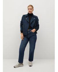 Mango Blue Zipped Biker Jacket