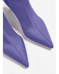 Mango Purple Heel Sock Boots