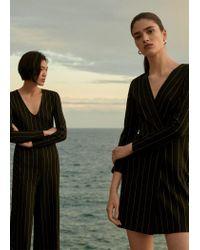 Mango Black Striped Long Jumpsuit