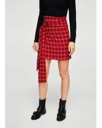 Mango - Red Check Wrap Skirt - Lyst