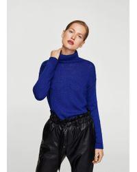 Mango - Blue Turtleneck Sweater - Lyst