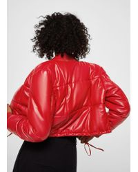 Mango Red Quilted Leather Jacket