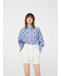 Mango   Blue Openwork Cotton Shirt   Lyst