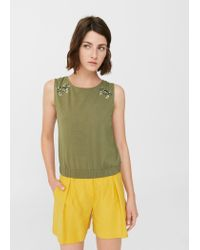 Mango | Green Sequin Embroidery Top | Lyst