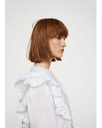 Mango White Ruffled Blond-lace Blouse