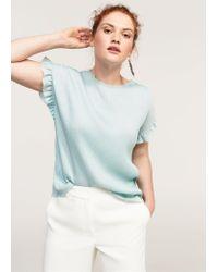 Violeta by Mango - Blue Metallic Pleated Shirt - Lyst