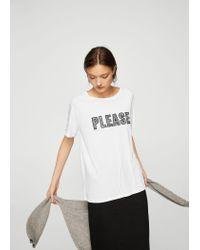 Mango White Printed Cotton T-shirt