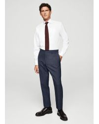 Mango - Black Regular-fit Check Suit Trousers - Lyst