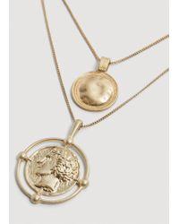 Mango - Metallic Metal Piece Necklace - Lyst