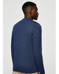 Mango | Blue Wool Zip Neck Jumper for Men | Lyst