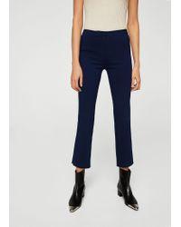 Mango Blue Zipped Straight Trousers
